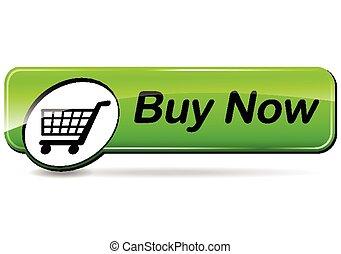 compre, verde, botão