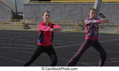 Comprehensive exercise - Young girls spend training...