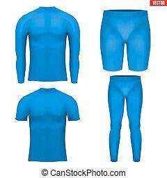compresión, conjunto, termal, capa, ropa interior