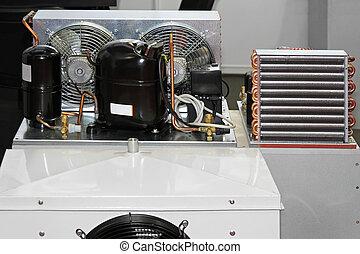 compresor, refrigeración, unidad