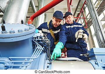 compresor, trabajadores, industrial, estación de servicio
