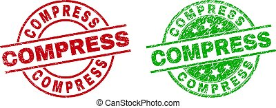 Round COMPRESS stamp badges. Flat vector distress stamp watermarks with COMPRESS title inside circle and lines, using red and green colors. Watermarks with corroded style.