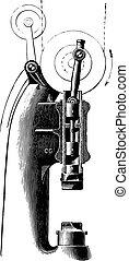 Compressed air hammer Mr. Piat, vintage engraving.