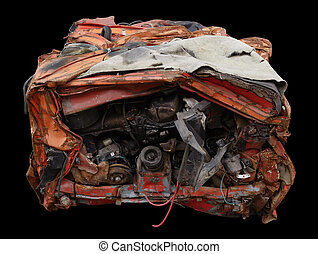 compressed car - compressed rusty weathered car isolated on...