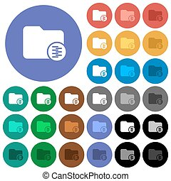 Compressed directory round flat multi colored icons