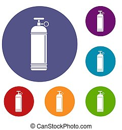 Compressed gas container icons set