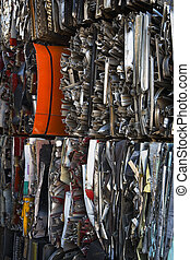 Compressed, Stacked Scrap Metal