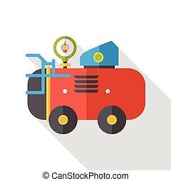 compresseur, air, plat, icône