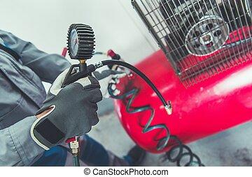 compresseur, garage, air