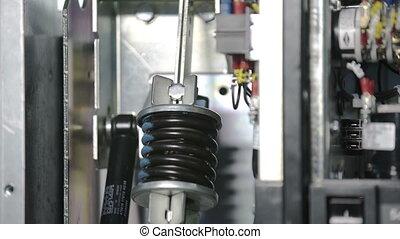compression., fusible, automatique, étagère, overload., principal, élevé, grand, électrique, industriel, tension, casseur, pendant, circuit, printemps, commutateur, fusibles