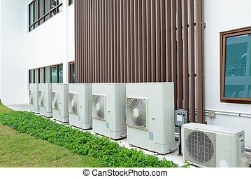 Compressor of air condition are set next to the building