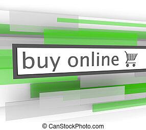 compri on-line, sbarra, -, sito web, carrello