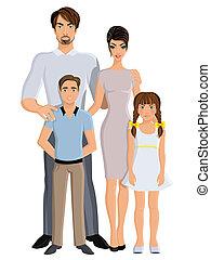 comprimento, cheio, família, feliz