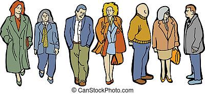 comprimento, cheio, grupo, pessoas