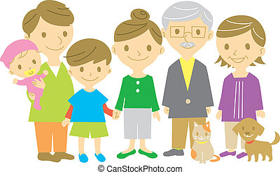 comprimento, família, cheio, junto