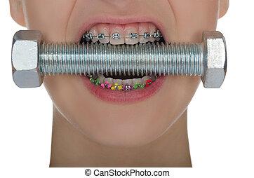 comprimido, fierros, metal, tornillo, dientes
