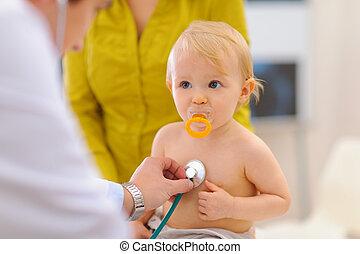 comprobado, doctor, ser, estetoscopio, pediátrico, bebé,...