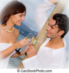 compromiso, pareja, luna de miel, vacaciones, fiesta, o, ...