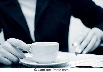 comptabilité, café