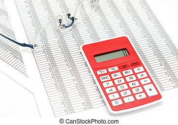 comptabilité, calculatrice, documents, lunettes