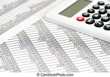 comptabilité, calculatrice, documents