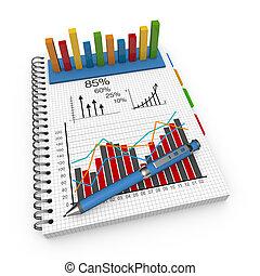 comptabilité, concept, cahier