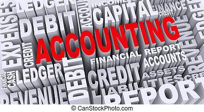 comptabilité, concept, mot, 3d, étiquettes