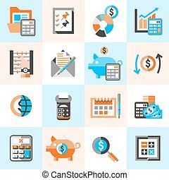 comptabilité, ensemble, icônes