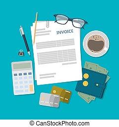 comptabilité, illustration., facture
