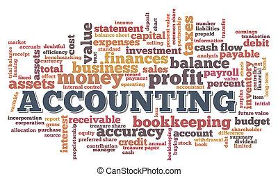 comptabilité, mot, nuage, bulle mot, étiquettes