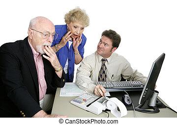 comptabilité, série, -, choquant, découverte