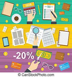 comptabilité, style, impôts, ensemble, bannière, horizontal, plat