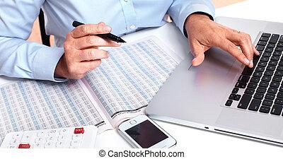comptable, woman., mains affaires