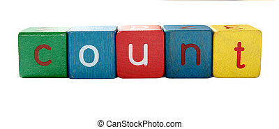 compte, children\'s, lettres, bloc