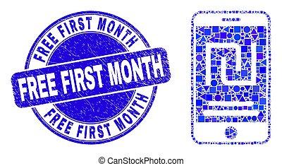 compte, détresse, shekel, mois, gratuite, mosaïque, timbre, bleu, premier, mobile