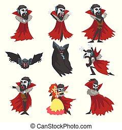 compte, différent, ensemble, dracula, caractère, vampire, illustration, reepy, vecteur, fond, situations, blanc, dessin animé