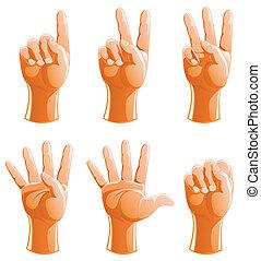 compte, ensemble, bras, geste