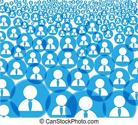 compte, foule, icônes, média, résumé, social