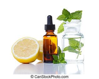 compte-gouttes, aromathérapie, bouteille, médecine, herbier, ou