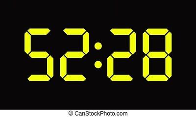 compte, horloge, -, zéro, numérique, soixante