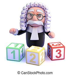 compte, juge, vous, enseigne, 3d