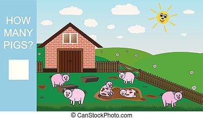 compte, mathématique, pédagogique, illustration., beaucoup, cochons, comment, jeu, vecteur, game., children., dénombrement, préscolaire