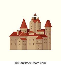 compte, plat, vieux, transylvania, architecture., résidence, historique, dracula., son de blé, célèbre, s, vecteur, romania., repère, château, bâtiment., ou, icône