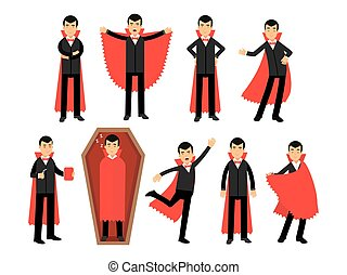 compte, porter, différent, ensemble, situations, complet, vampire, vecteur, poser, caractères, dracula, illustrations, cap, noir rouge