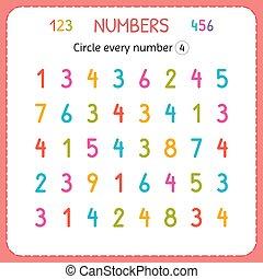compte, preschool., formation, worksheet, four., nombre, numbers., écrire, chaque, nombres, jardin enfants, exercices, cercle, enfants, kids.