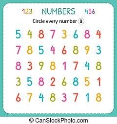 compte, preschool., formation, worksheet, nombre, numbers., écrire, chaque, nombres, jardin enfants, exercices, cercle, eight., enfants, kids.