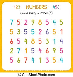 compte, preschool., formation, worksheet, nombre, numbers., écrire, chaque, nombres, jardin enfants, exercices, cercle, five., enfants, kids.
