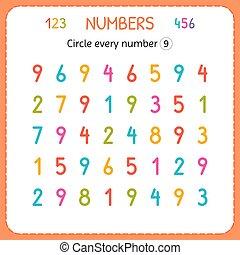 compte, preschool., formation, worksheet, nombre, numbers., écrire, chaque, nombres, jardin enfants, exercices, cercle, nine., enfants, kids.