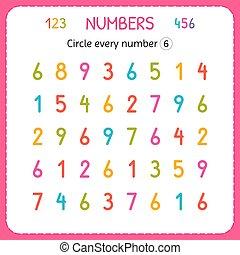 compte, preschool., formation, worksheet, nombre, numbers., six., écrire, chaque, nombres, jardin enfants, exercices, cercle, enfants, kids.