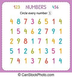 compte, preschool., formation, worksheet, nombre, one., numbers., écrire, chaque, nombres, jardin enfants, exercices, cercle, enfants, kids.